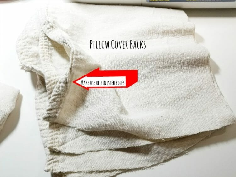 Pillow Cover Backs made with Drop Cloths