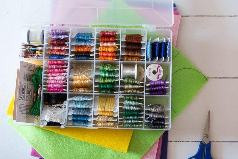 Storage box of colorful embroidery floss