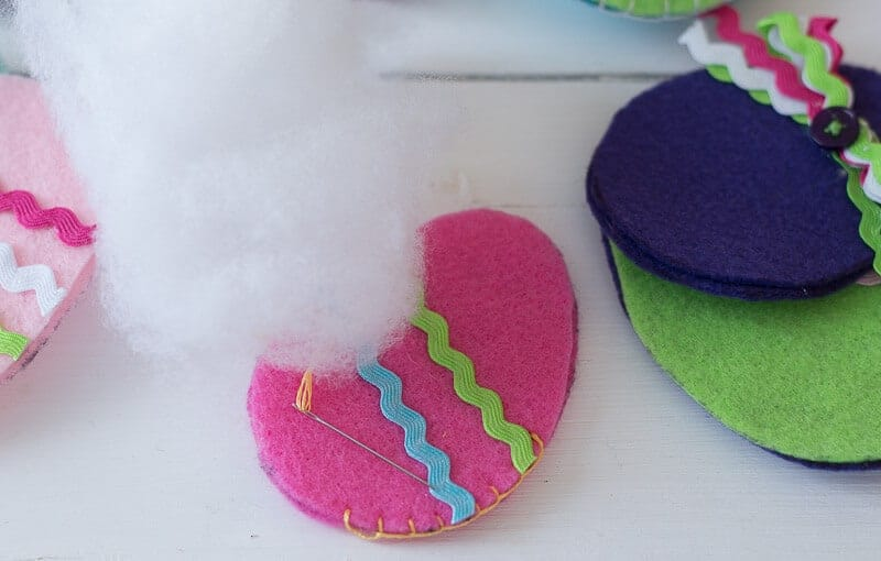 Fiber Fill read to stuff pink felt Easter egg