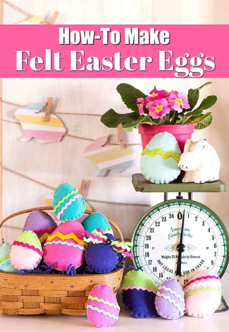 Felt Easter Eggs in a basket with a vintage scale, chalk bunny, and pink primrose in a pink pot