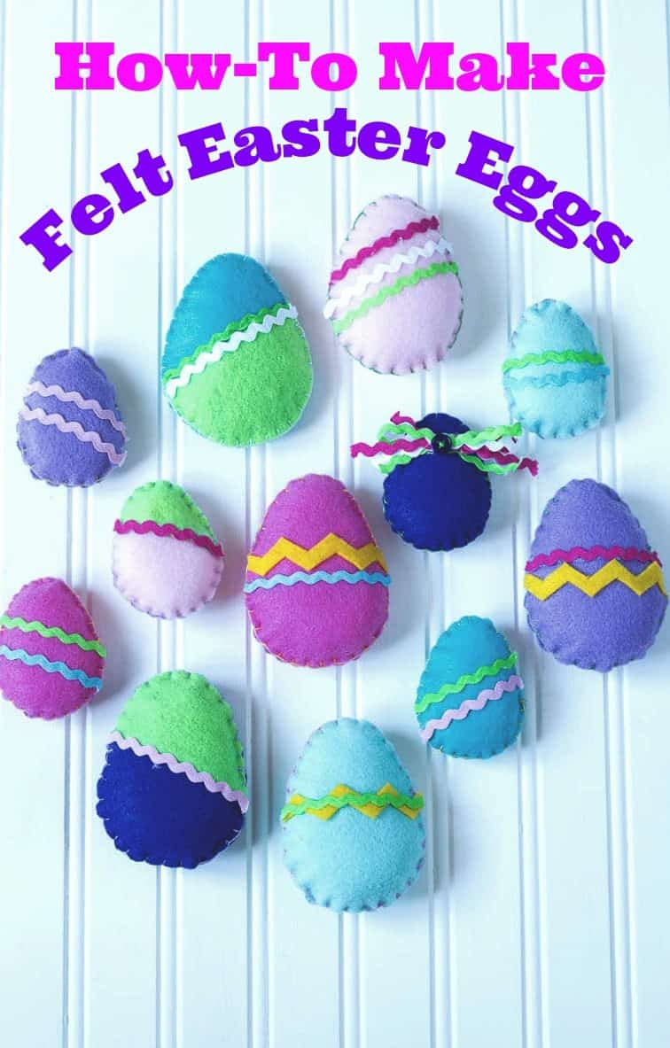 Colorful stuffed felt Easter eggs on a white background