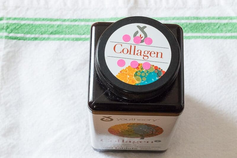 Bottle of collagen pills