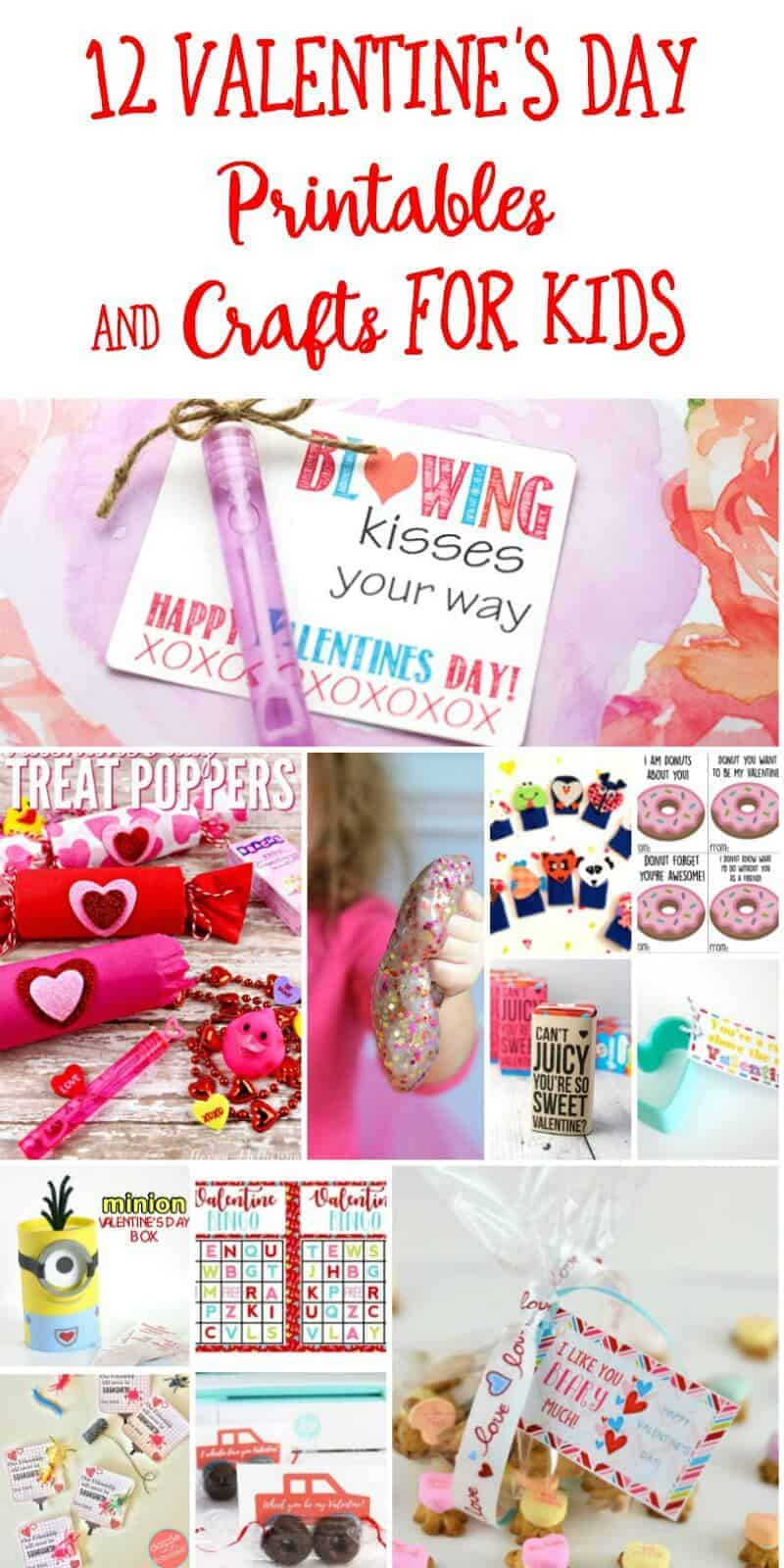 Collage of Valentine's Day printables and crafts for kids