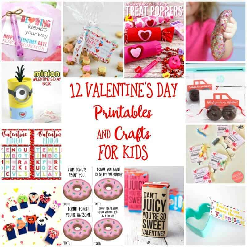 Collage of Valentine's Day kids crafts and free printables