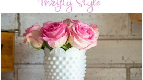 Pictures of pink roses in a white hobnail vase with sun hitting the side and creating a glow