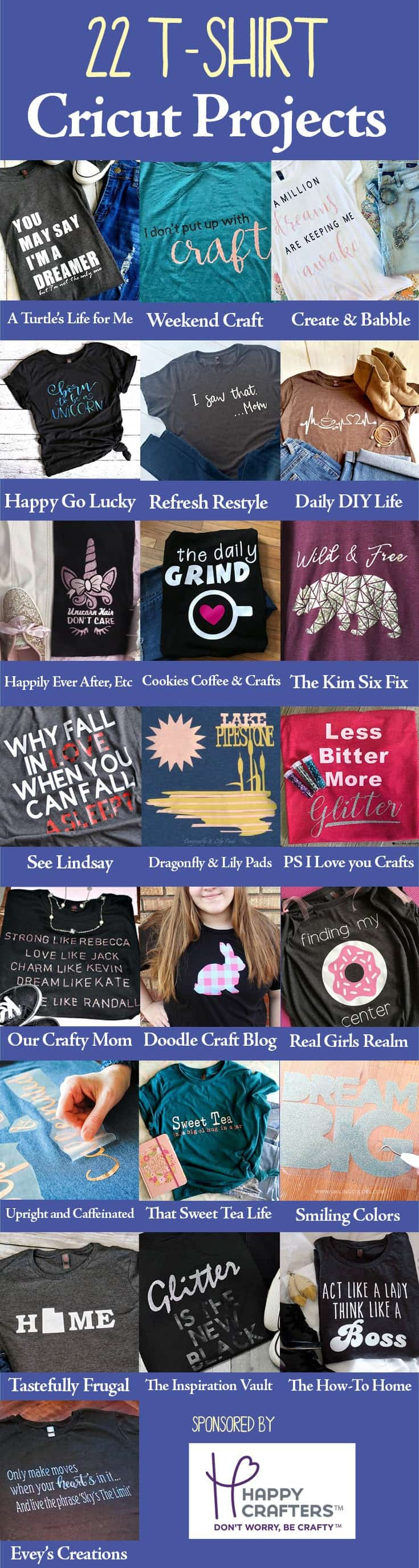 Collage of 22 T-shirts all made with a Cricut Cutting Machine