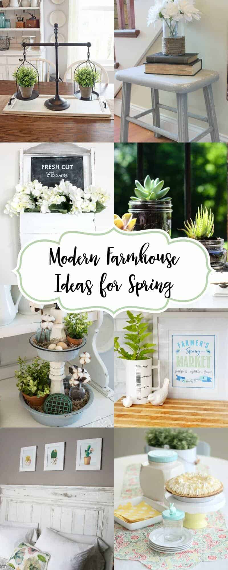 Collage of modern farmhouse decor for spring decorating