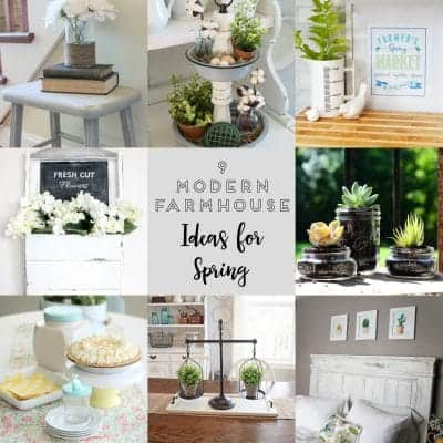 Square collage of modern farmhouse spring decor