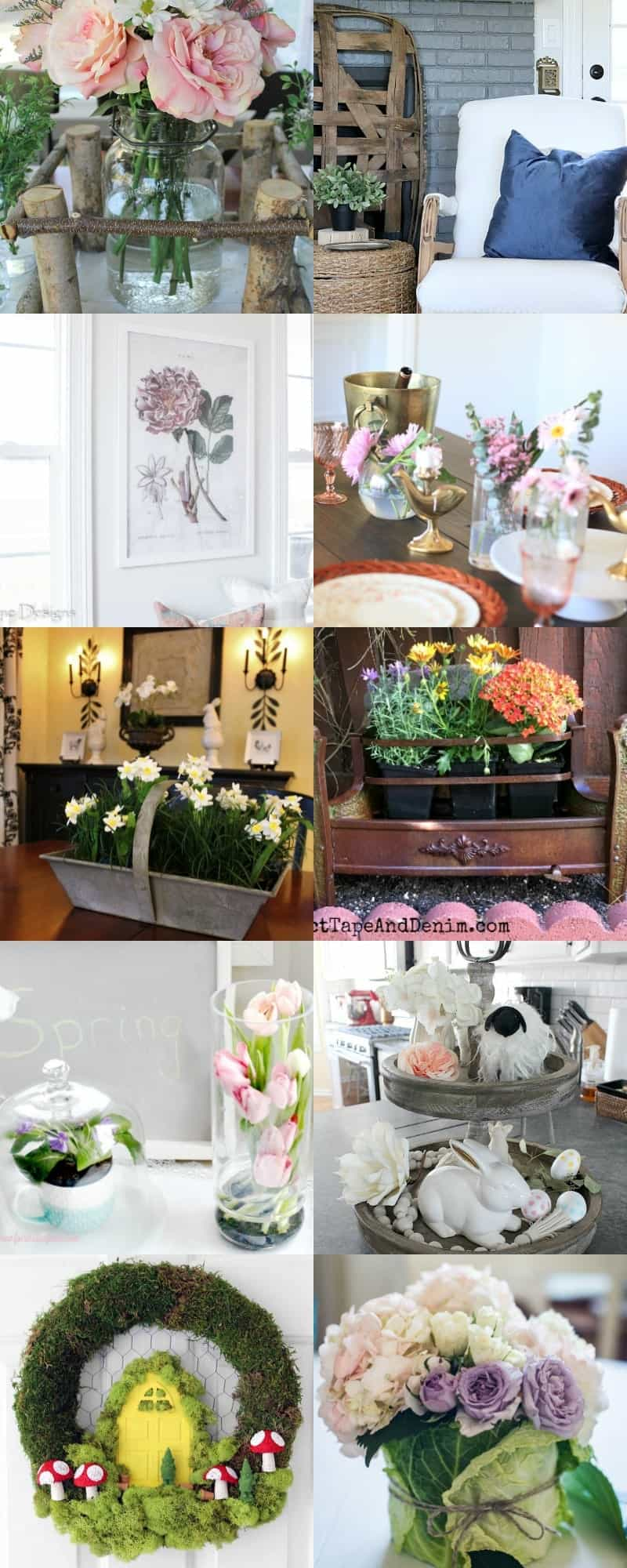long collage with no overlay of 12 DIY's to Spruce Up Your Space for Spring