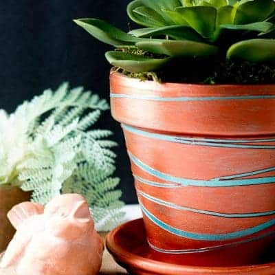 Metallic copper planter with a succulent