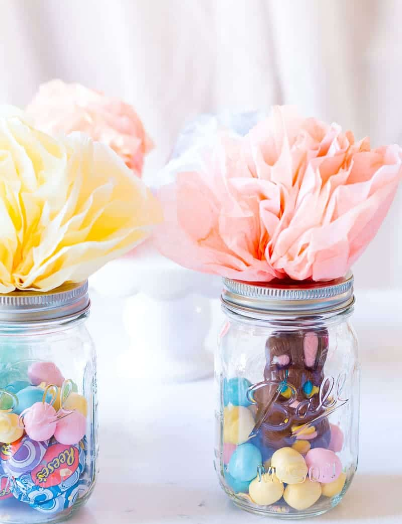 Mason Jar Easter Baskets filled with Easter Candy and topped with dyed coffee filter flowers
