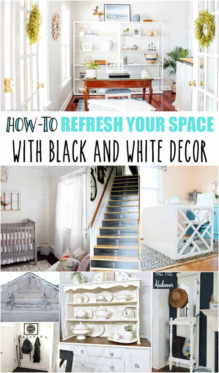 Long Pinterest Collage with the How-To text added included photos of black and white decor ideas