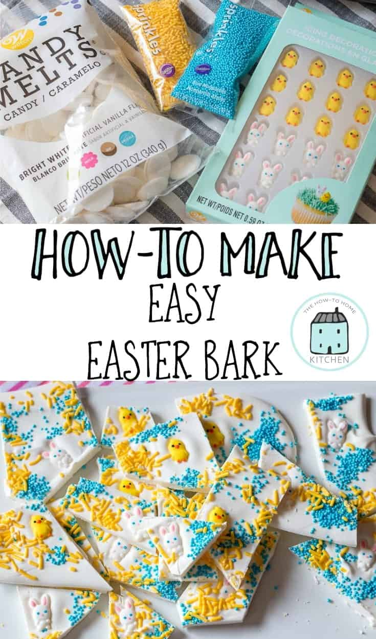 Collage of Easter Candy bark along with the ingredients to make your own easy version