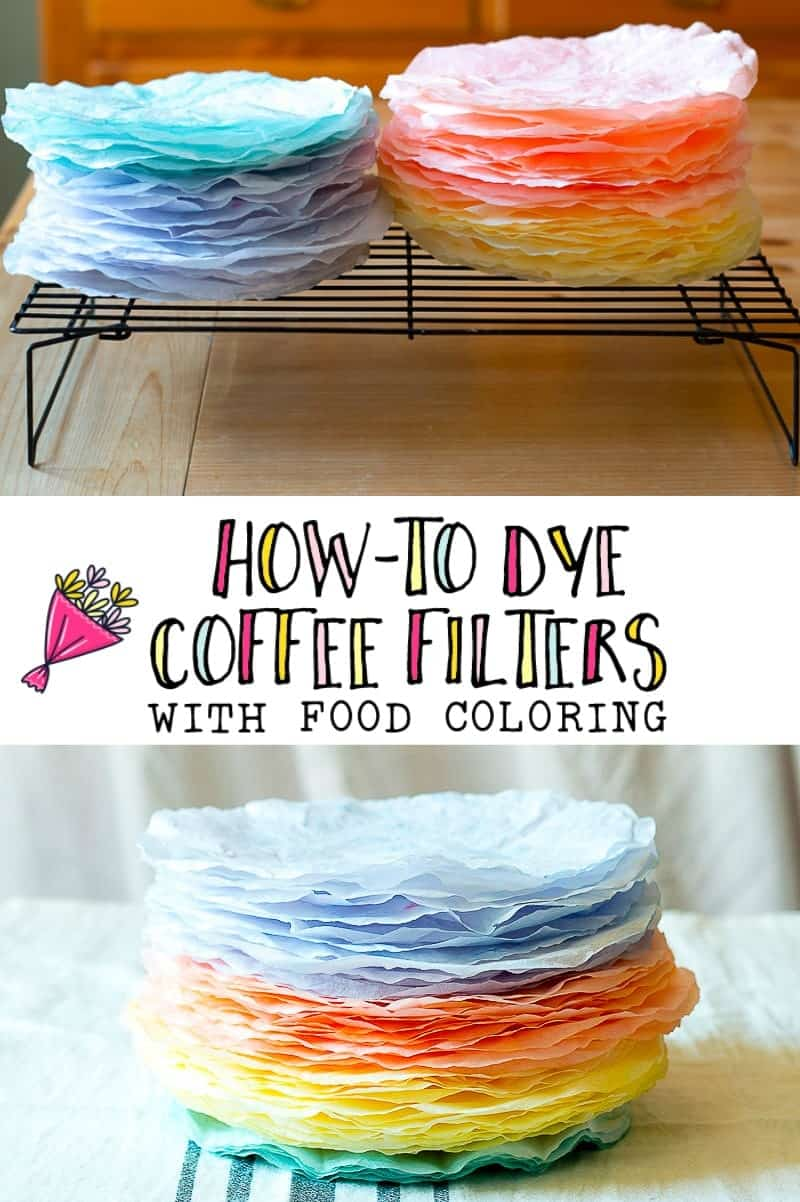 Vibrantly dyed coffee filters dyed with food coloring