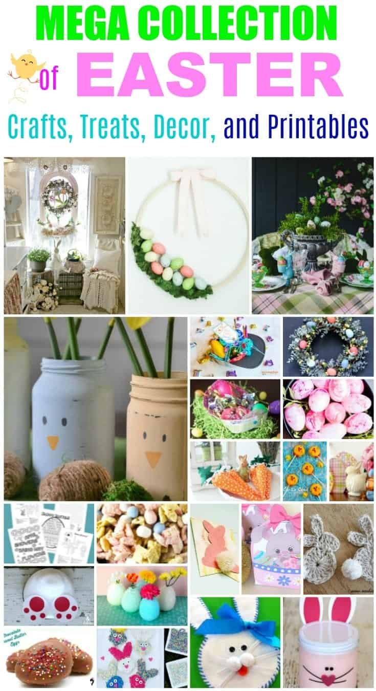 Collage of Easter crafts and more