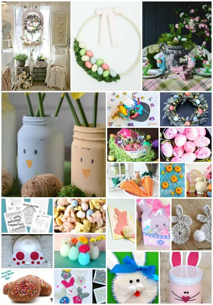 Collage of over 20 ideas for Easter including crafts, candy, decor, and printables
