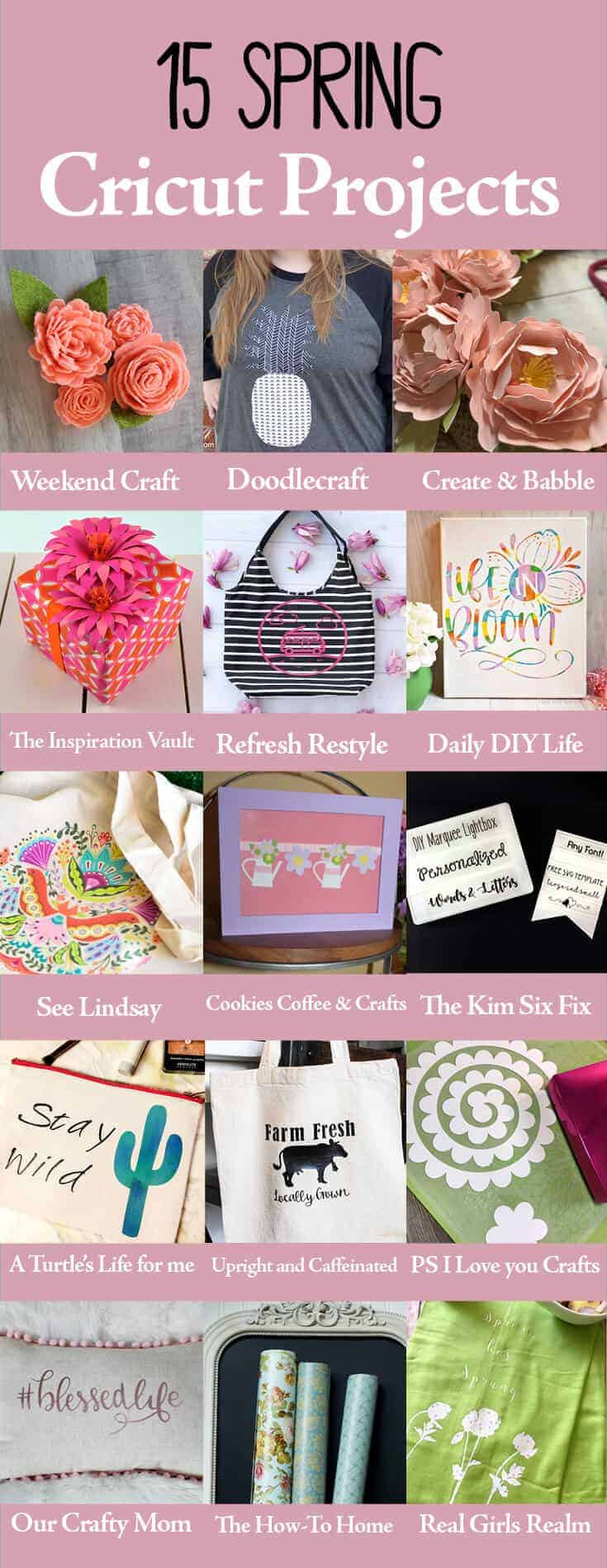 Collage of 15 spring projects made with a Cricut cutting machine