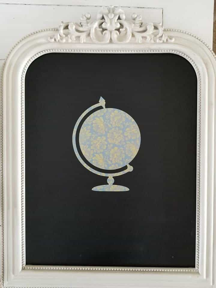 Globe cut out with Cricut in basic pattern for Shabby Chic Chalkboard