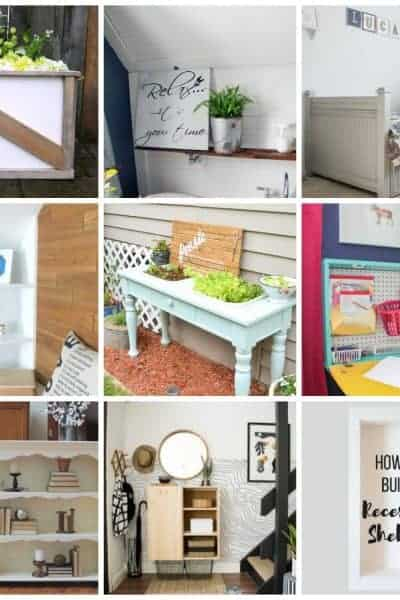 collage with 9 squares of farmhouse DIY home decor projects
