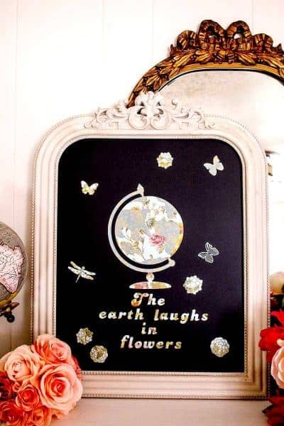 Close up of Shabby Chic Chalkboard decorated using Anna Griffin Cricut premium vinyl, repositionable, Ralph Waldo Emerson Quote, flowers, butterflies and dragonfly