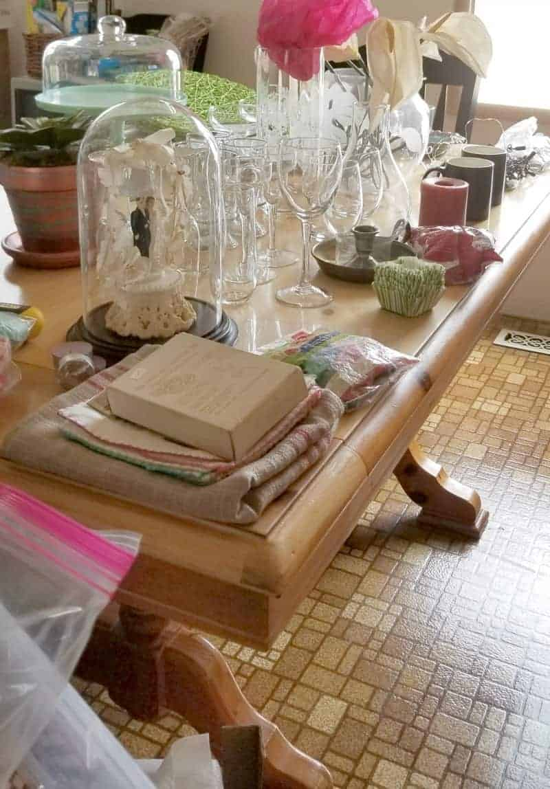 Picture of messy dining room table and the one word that changed my life