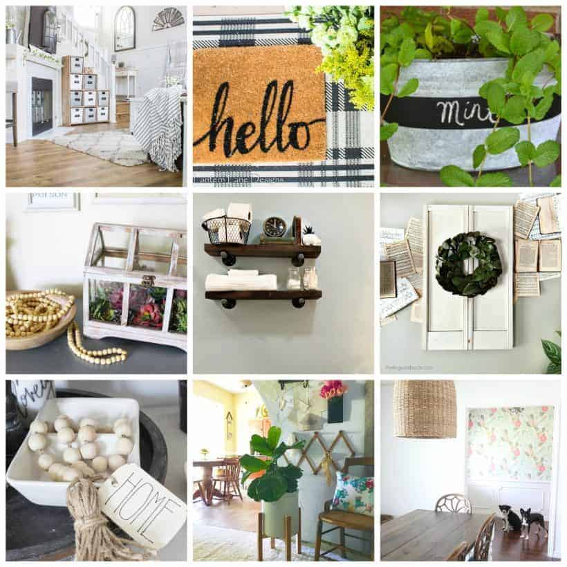 square collage of photos showing farmhouse chic style