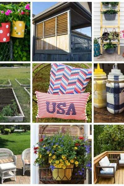 Square collag of 12 ways to spruce up your outdoor living space