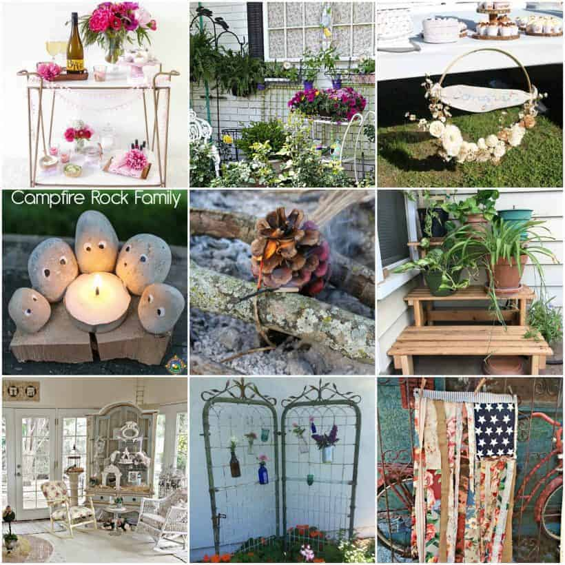 Collage of 9 ideas for summer decor and party ideas