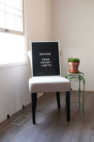 Letterboard with Words Refuse Fear, Doubt, and Limits - the one word that changed my life
