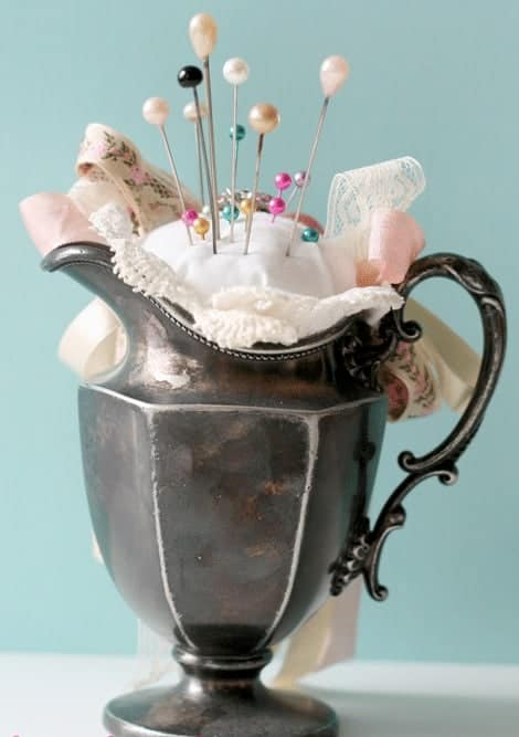 view of the back - vintage creamer pincushion