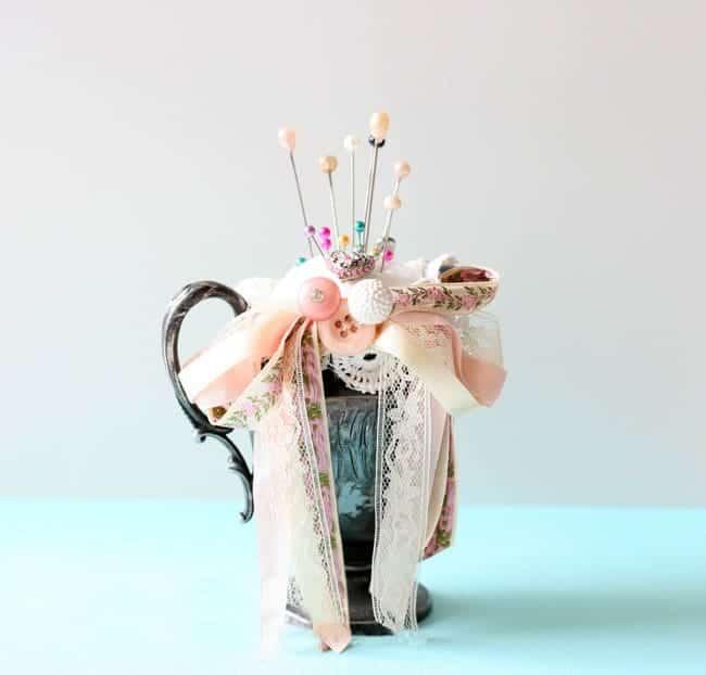 Vintage Creamer Shabby Chic Pincushion