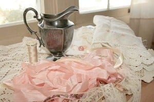 vintage creamer and other supplies for shabby chic pincushion