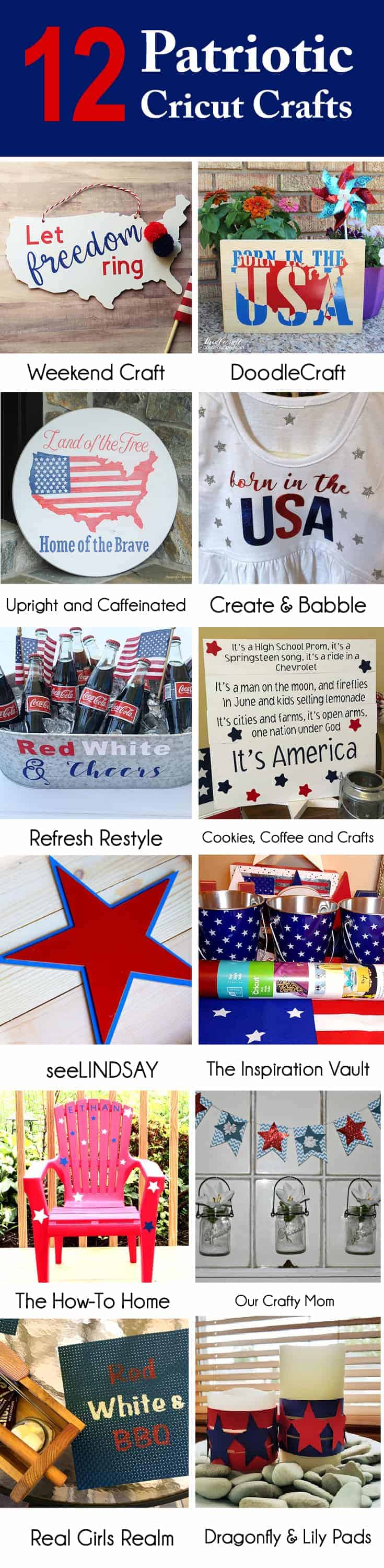 Collage of Americana Patriotic Crafts made with Cricut