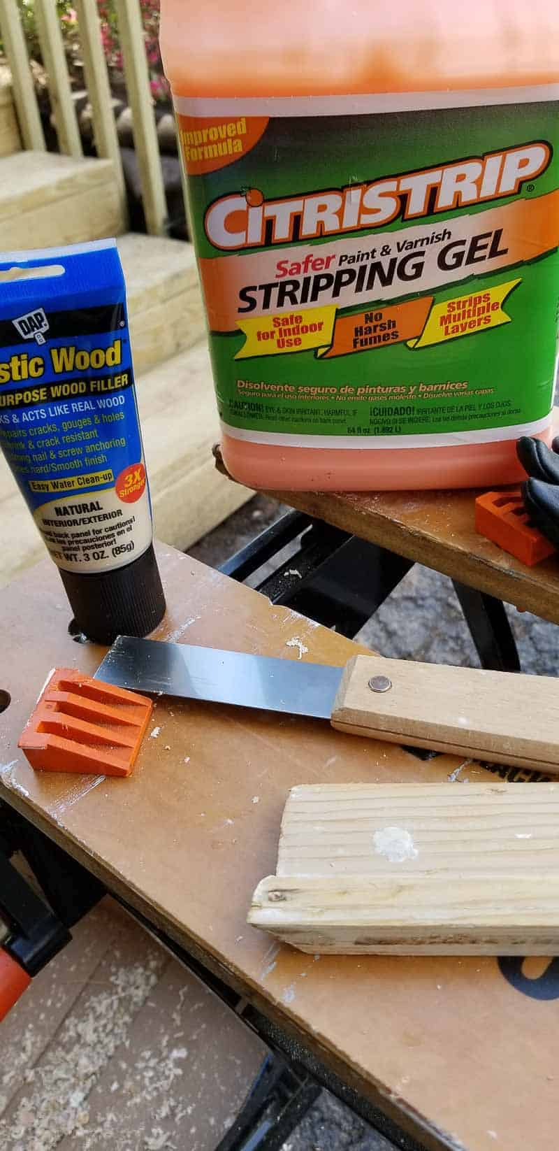 Tools and products used to strip trim from old baseboard before installing after placing new farmhouse plank flooring
