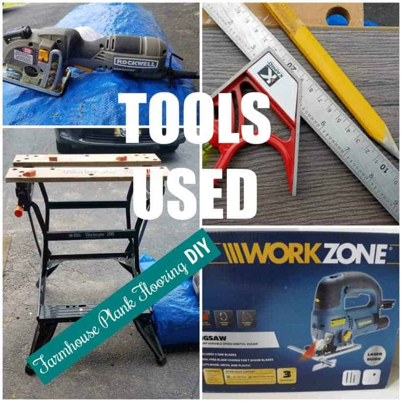Tools used to install farmhouse plank flooring