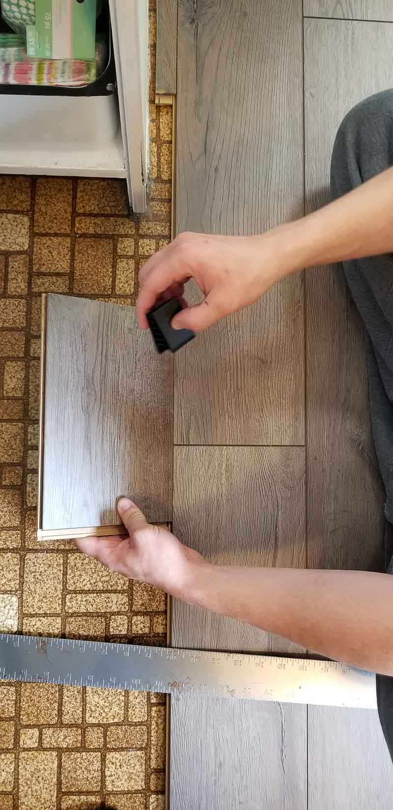 making a template for cuts for farmhouse plank flooring