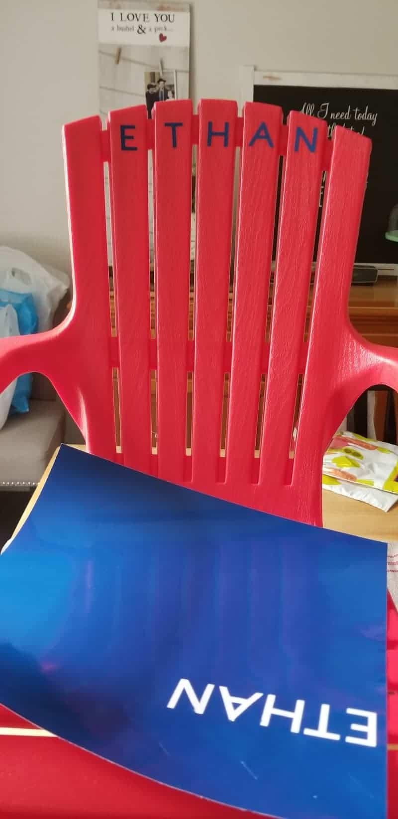 Red Plastic Child's Adirondack Chair Personalized using Cricut