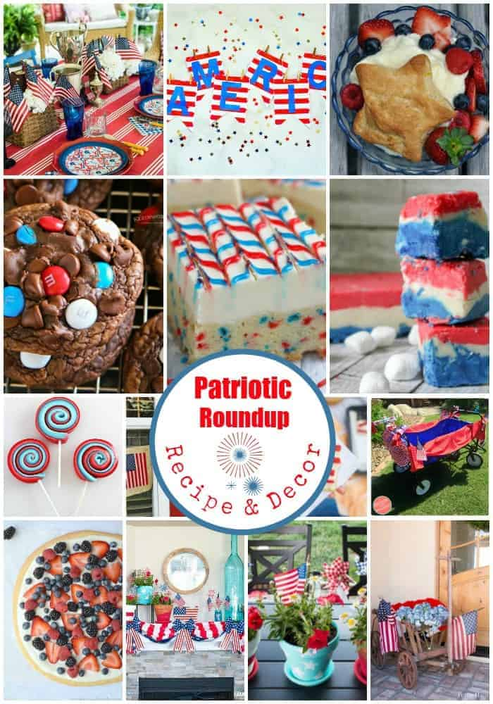 Pinterest collage of 14 patriotic recipes and patriotic decor all in red, white, and blue
