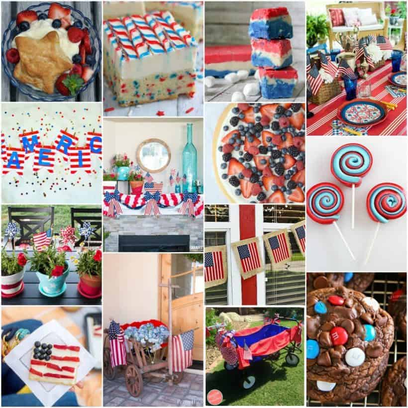 Square collage of 14 patriotic recipes and patriotic decor all in red, white, and blue