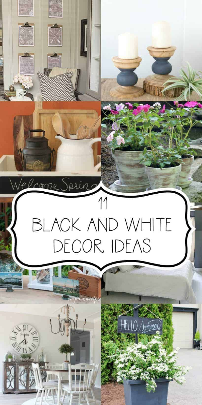 Collage of 11 basic black and white home decor ideas