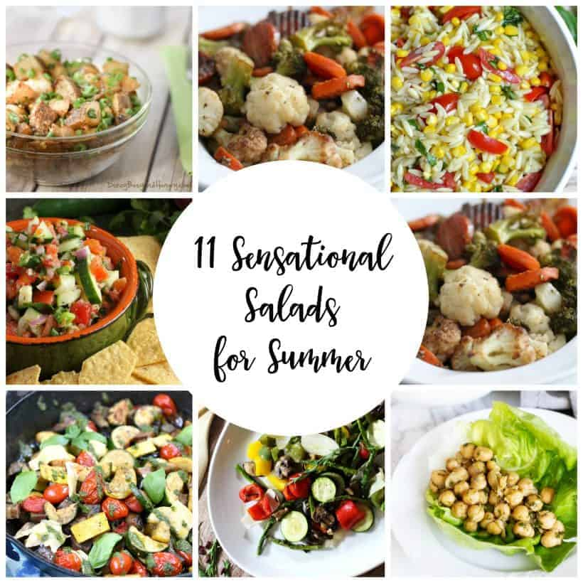 Square collage of 11 delicious and sensational salads for summer with a white circle overlay and the words 11 sensational salads for summer