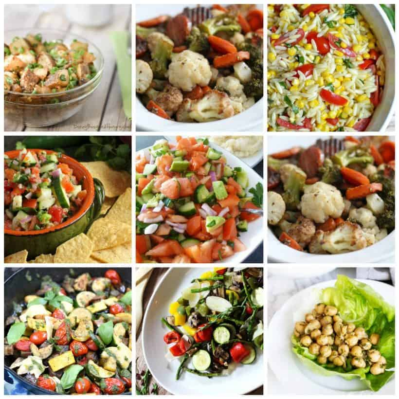 Square collage of 11 delicious and sensational salads for summer