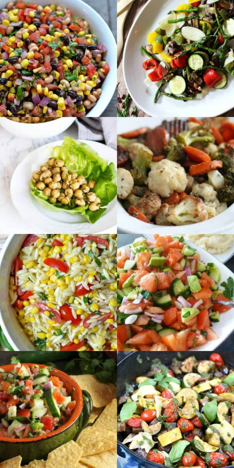 Long collage of 11 delicious and sensational salads for summer
