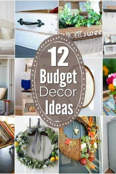 Square collage of 12 home decor ideas on a budget with text that states 12 budget decor ideas