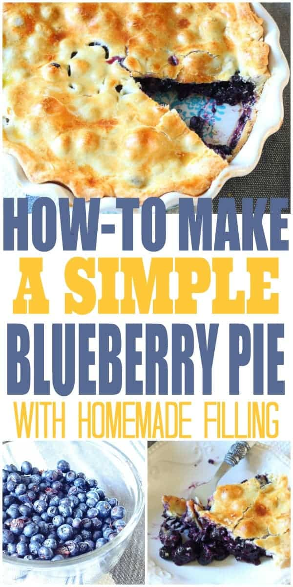 Collage of three photos of fresh blueberries, a slice of blueberry pie, and a blueberry pie with a slice missing