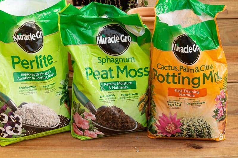 Miracle Gro Cactus Potting Soil, Miracle Gro Sphagnum Peat Moss, and Miracle Gro Perlite bags