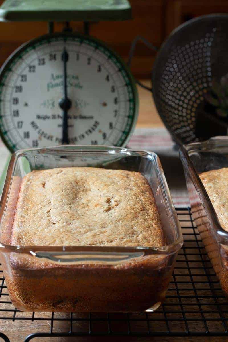 Freshly baked protein banana bread in pans cooling off on wire racks