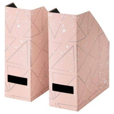 two pink magazine holders with geometric shapes on them from Ikea