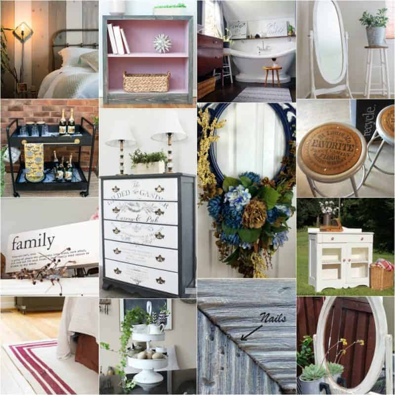Collage of 14 farmhouse inspired DIYs and Ideas