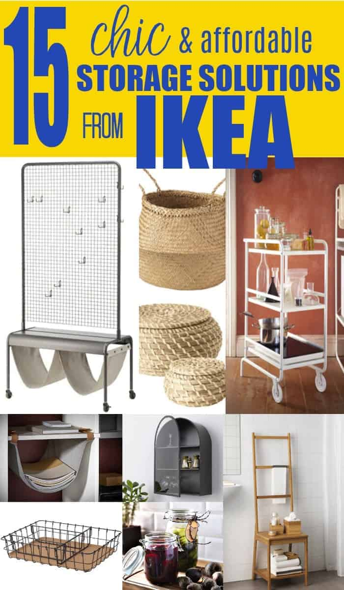 collage of affordable and chic storage solutions from Ikea